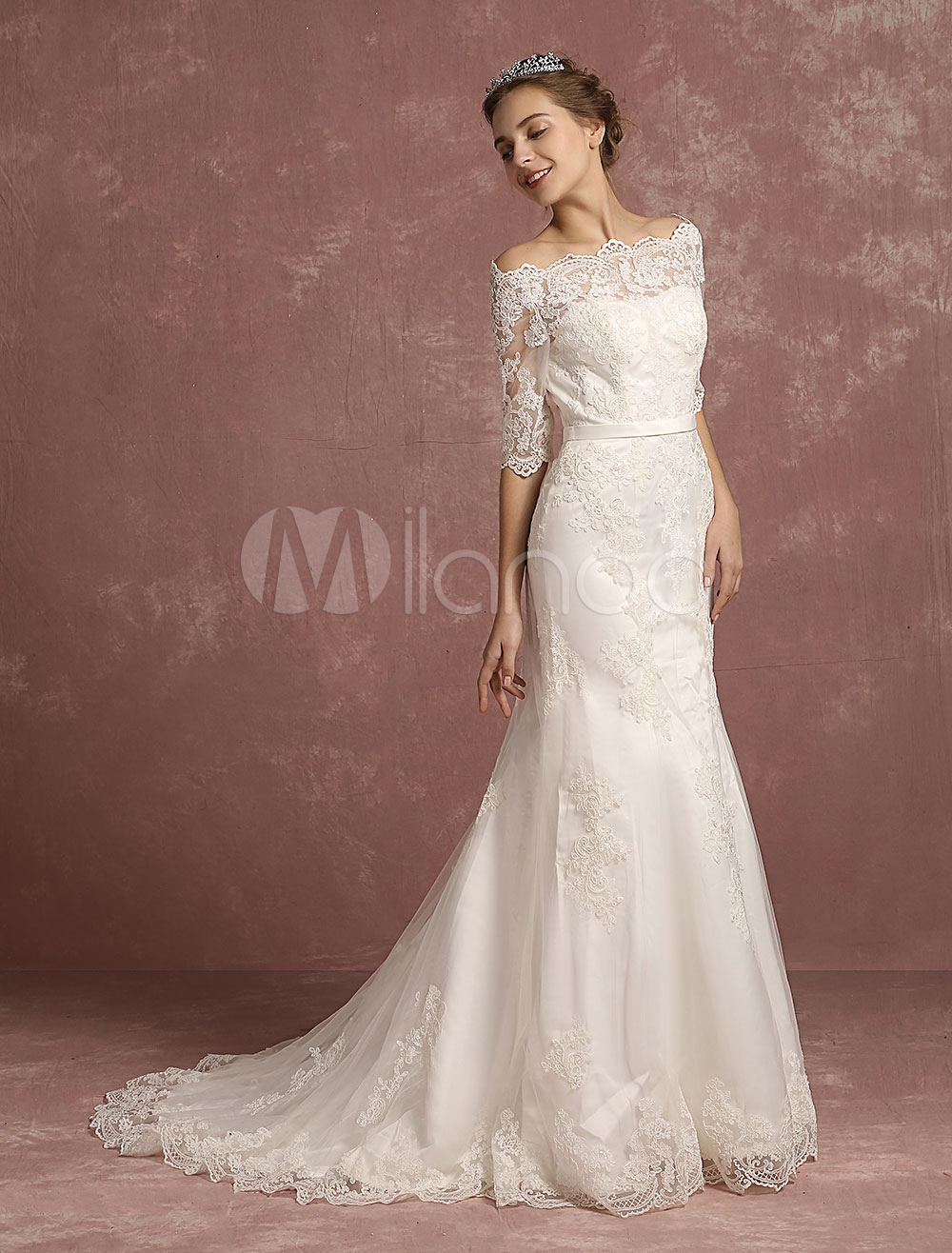 Mermaid Wedding Dress Lace Half Sleeve Bridal Gown Bateau Beaded Ivory Bridal Dress With Chapel Train