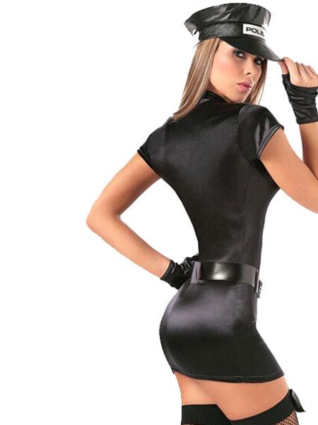 3fa3dbb18 ... Policial Sexy fantasia manga curta preto Mini vestido policial fantasia  Halloween-No.2