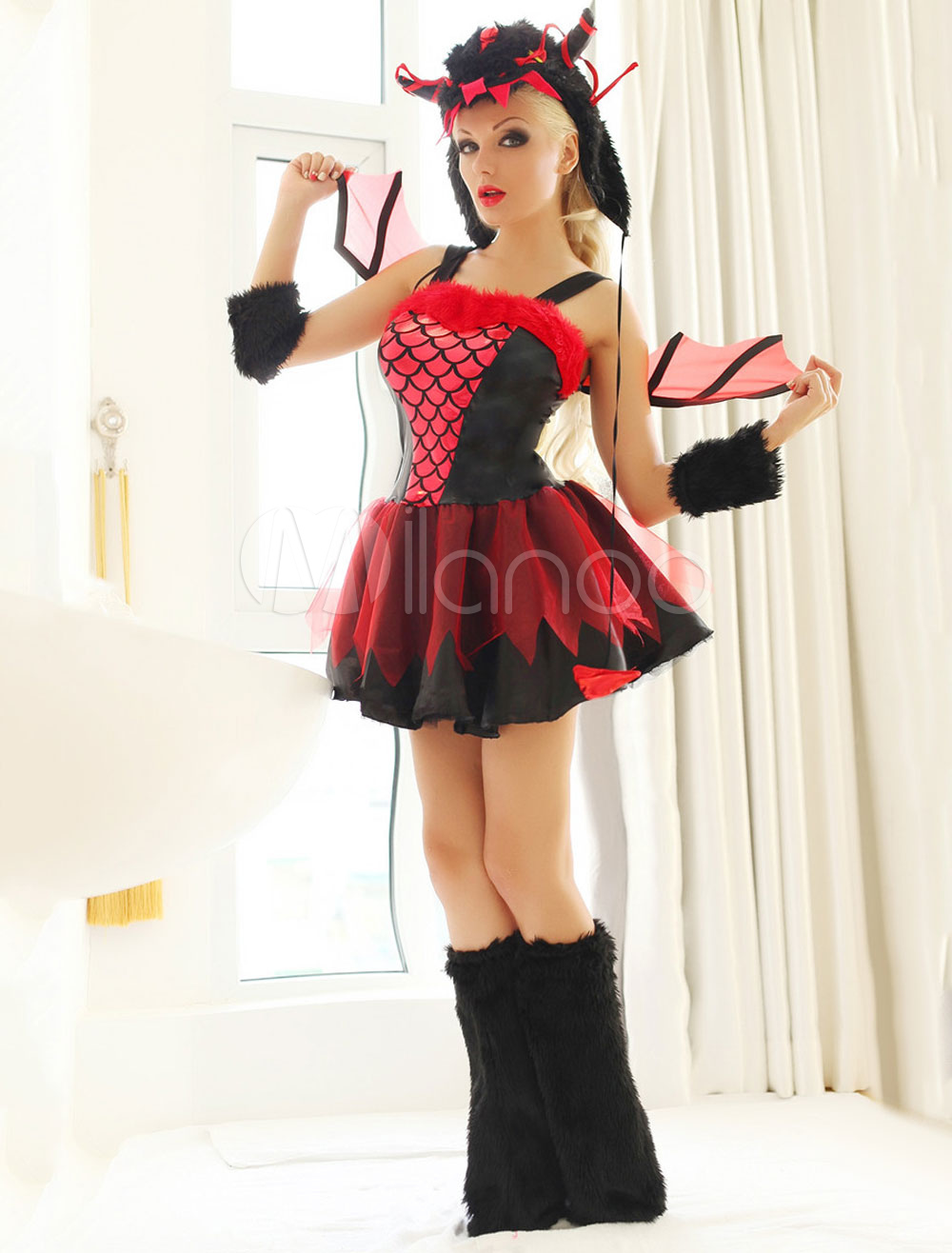 Buy Black Sexy Demon Costume Straps Lace TUTU Devil Costume Halloween for $42.31 in Milanoo store