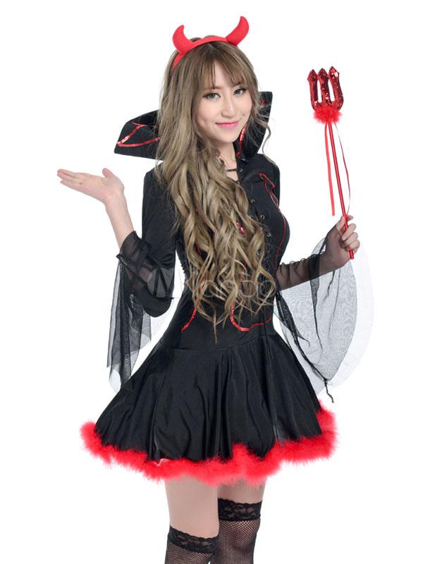 disfraz de diabla de demonio para halloween para adultos estilo femenino de polister negra con vestido