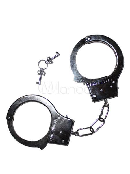 Buy Halloween Prisoner Handcuff Costume Silver Plastic Convict Costume Handcuffs Halloween for $4.59 in Milanoo store