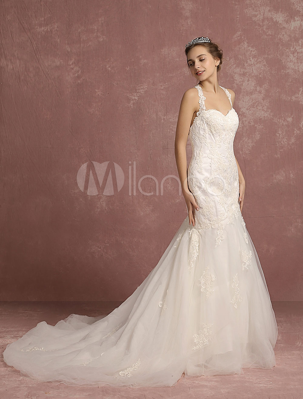 Lace Wedding Dress Mermaid Halter Backless Bridal Gown Sweetheart Sleeveless Chapel Train Ivory Bridal Dress