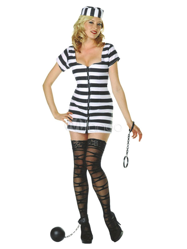 Buy Sexy Prisoner Costume Black Short Sleeve Mini Dress With Hat Women's Convict Halloween Costume Halloween for $23.99 in Milanoo store
