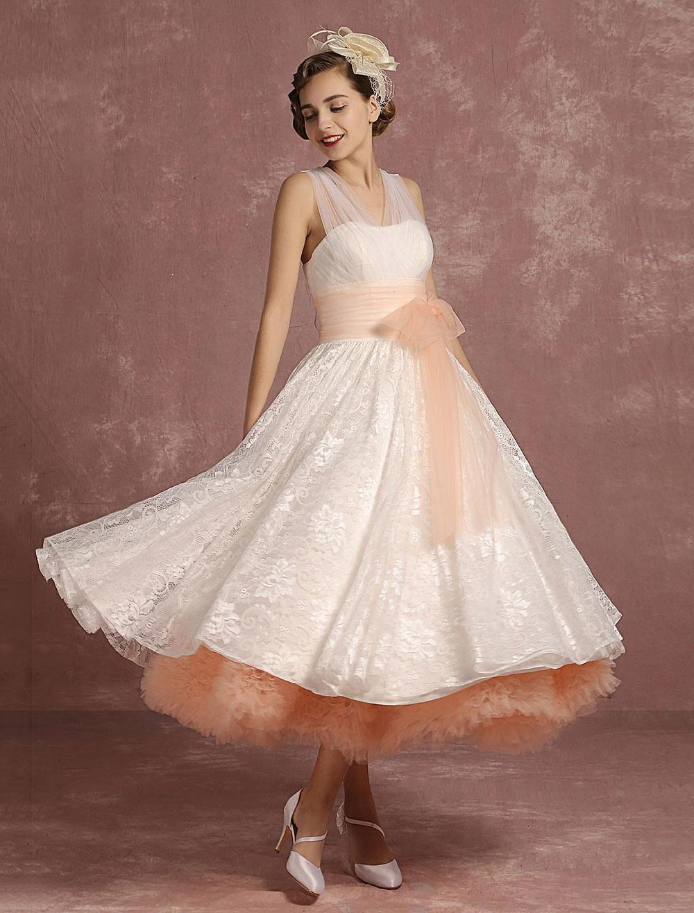 vintage wedding dresses lace v neck sleeveless bridal gown. Black Bedroom Furniture Sets. Home Design Ideas