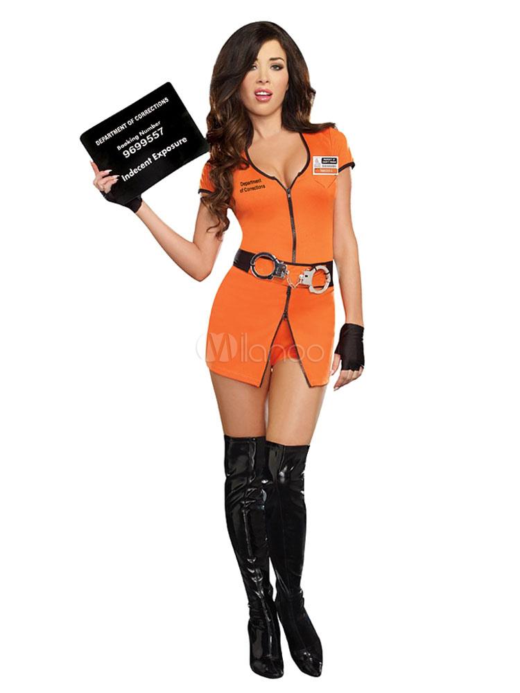 Buy Halloween Sexy Prisoner Costume Women's Yellow Short Sleeve Romper Cosplay Costume With Handcuffs Halloween for $33.11 in Milanoo store