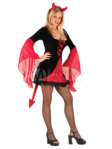 Buy Sexy Demon Costume Halloween Two Tone Flare Dress For Women Halloween for $25.64 in Milanoo store