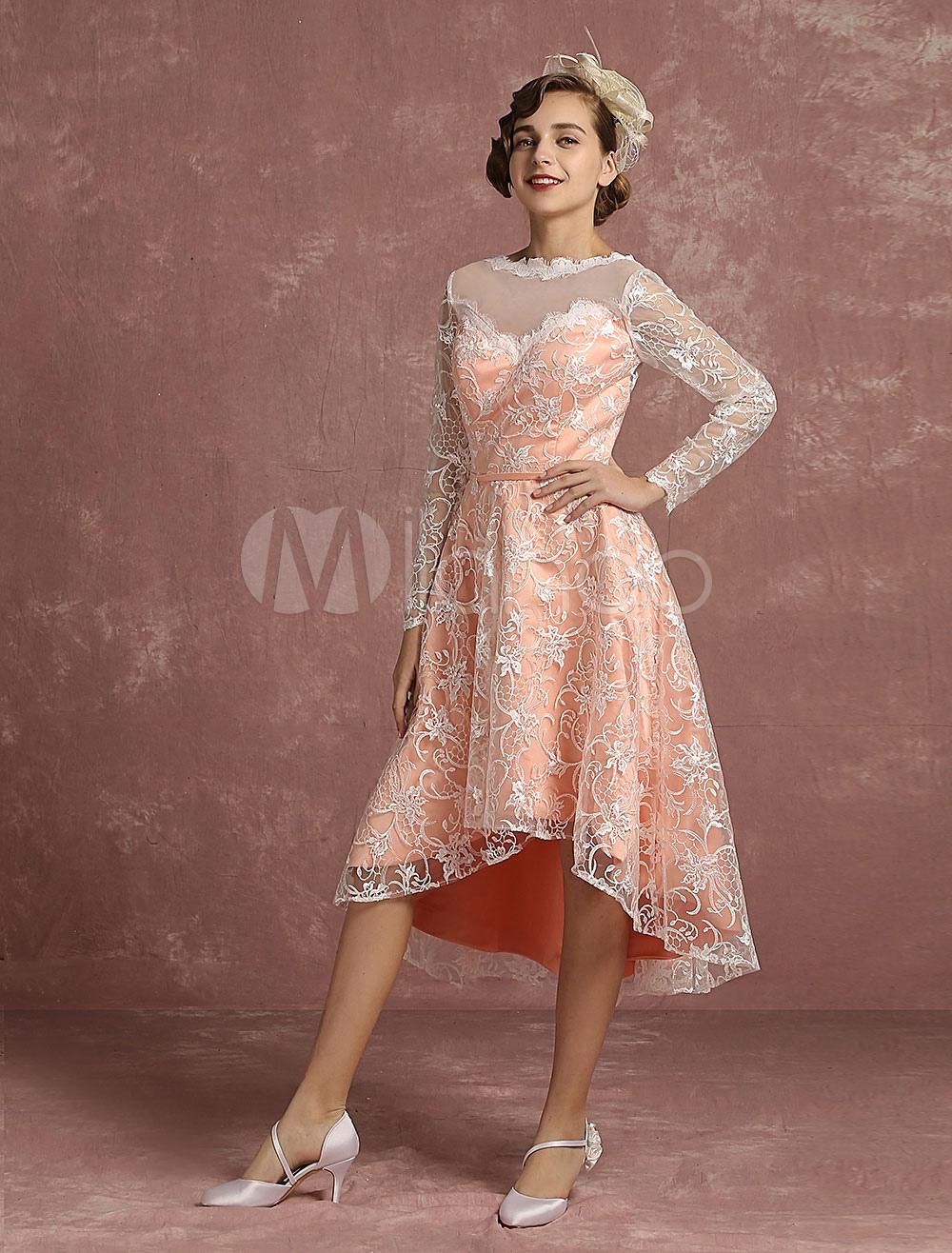 Spitze Hochzeit Kleid Rosa hoch niedrig Vintage Brautkleid Illusion ...