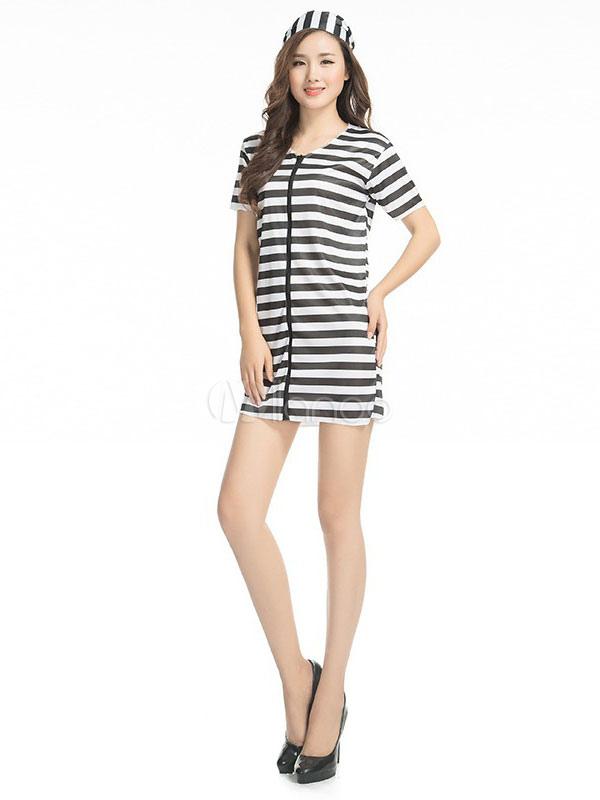Buy Halloween Prisoner Costume Women's Stripe Mini Dress Convict Costume Halloween for $11.03 in Milanoo store