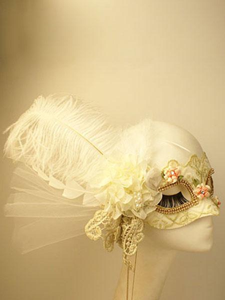 White Masquerade Masks Halloween Feathers Flowers Women's Mardi Gras Costume Accessories Halloween