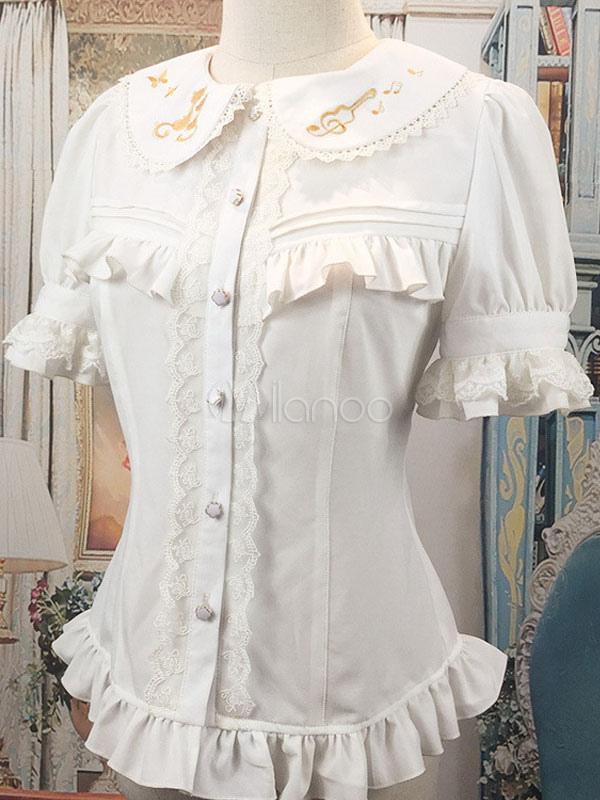 Milanoo / Sweet Lolita Blouse White Ruffle Peter Pan Collar Lolita Shirt