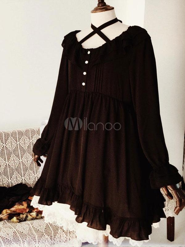 a9e16f083dd ... Gothic Lolita Dress OP Long Sleeve Black Lolita Dress Criss Cross  Chiffon High Waist Lolita One