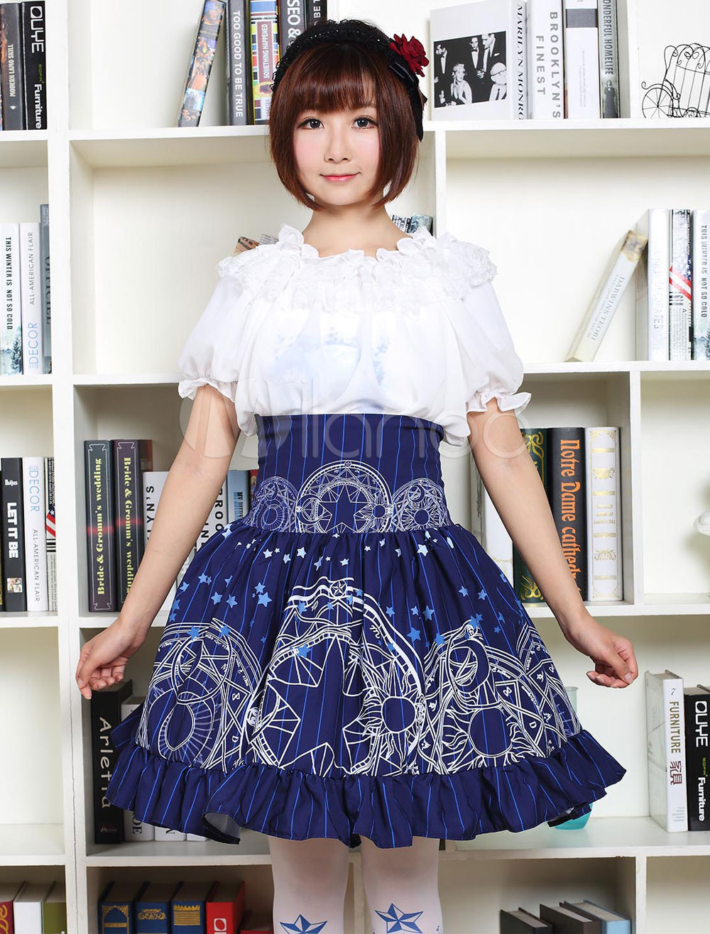 Sweet Lolita Dress SK Blue Lolita Dress High Waist Magic Array Printed Ruffle Hem Pleated Lolita Skirt