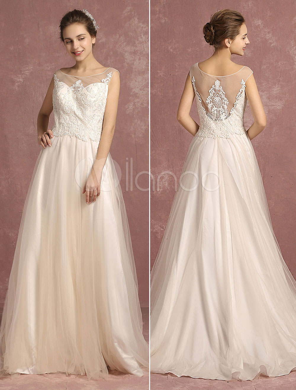 Buy Summer Wedding Dresses 2018 Tulle Illusion Lace Applique Bridal Gown Ivory Scoop Neck Sleeveless A Line Bridal Dress With Train for $151.19 in Milanoo store