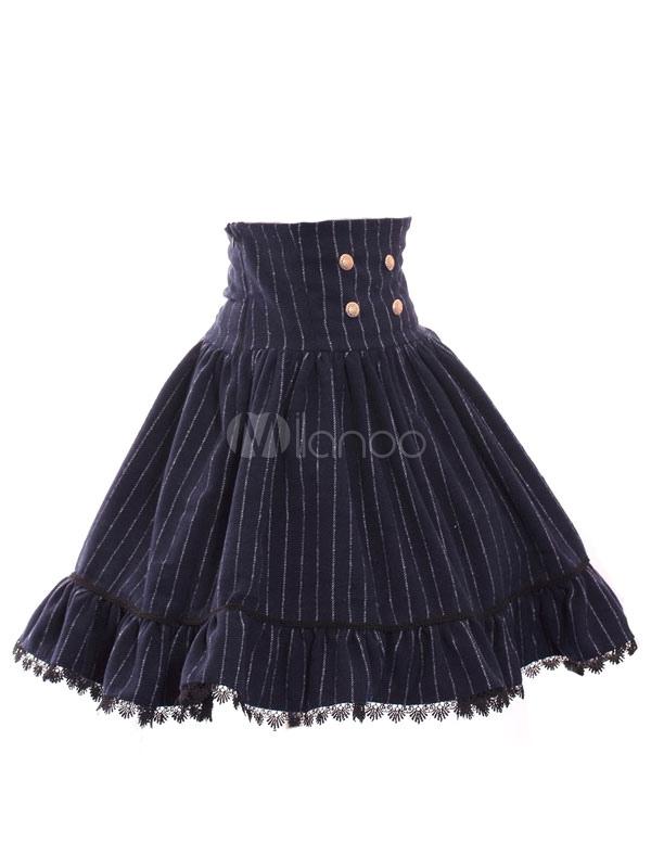 Sweet Lolita Dress SK Navy Lolita Dress High Wasit Stripe Lolita Skirt