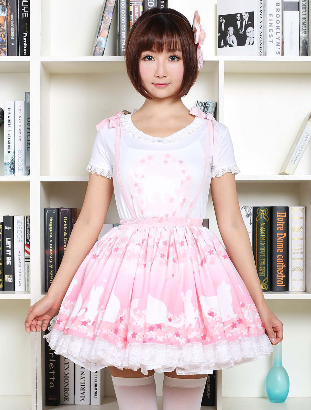 Buy Sweet Lolita Dress SK Pink Lolita Dress The Cat Under The Tree Printed Lace Hem Lolita Skirt for $45.99 in Milanoo store