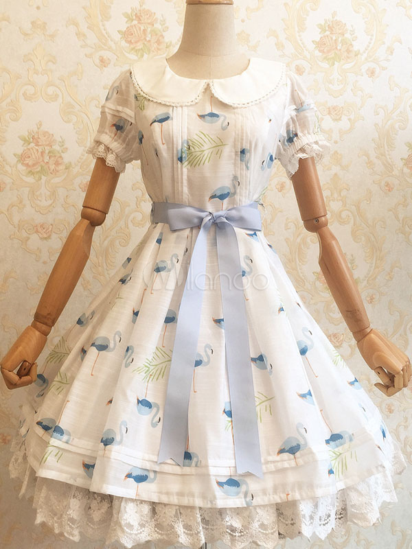 Buy Sweet Lolita Dress OP Kawaii White Lolita Dress Lace Trim Butterfly Print Short Sleeve Lolita Dress With Sash for $64.59 in Milanoo store