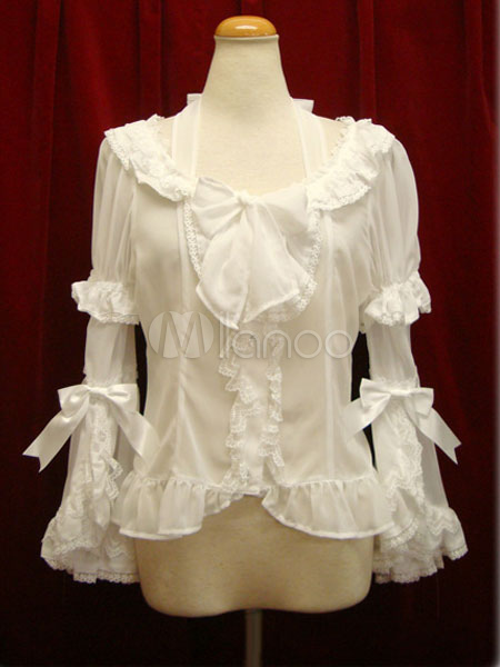 Buy Sweet Lolita Blouse White Bow Hime Sleeve Vintage Victorian Lolita Shirt for $47.99 in Milanoo store