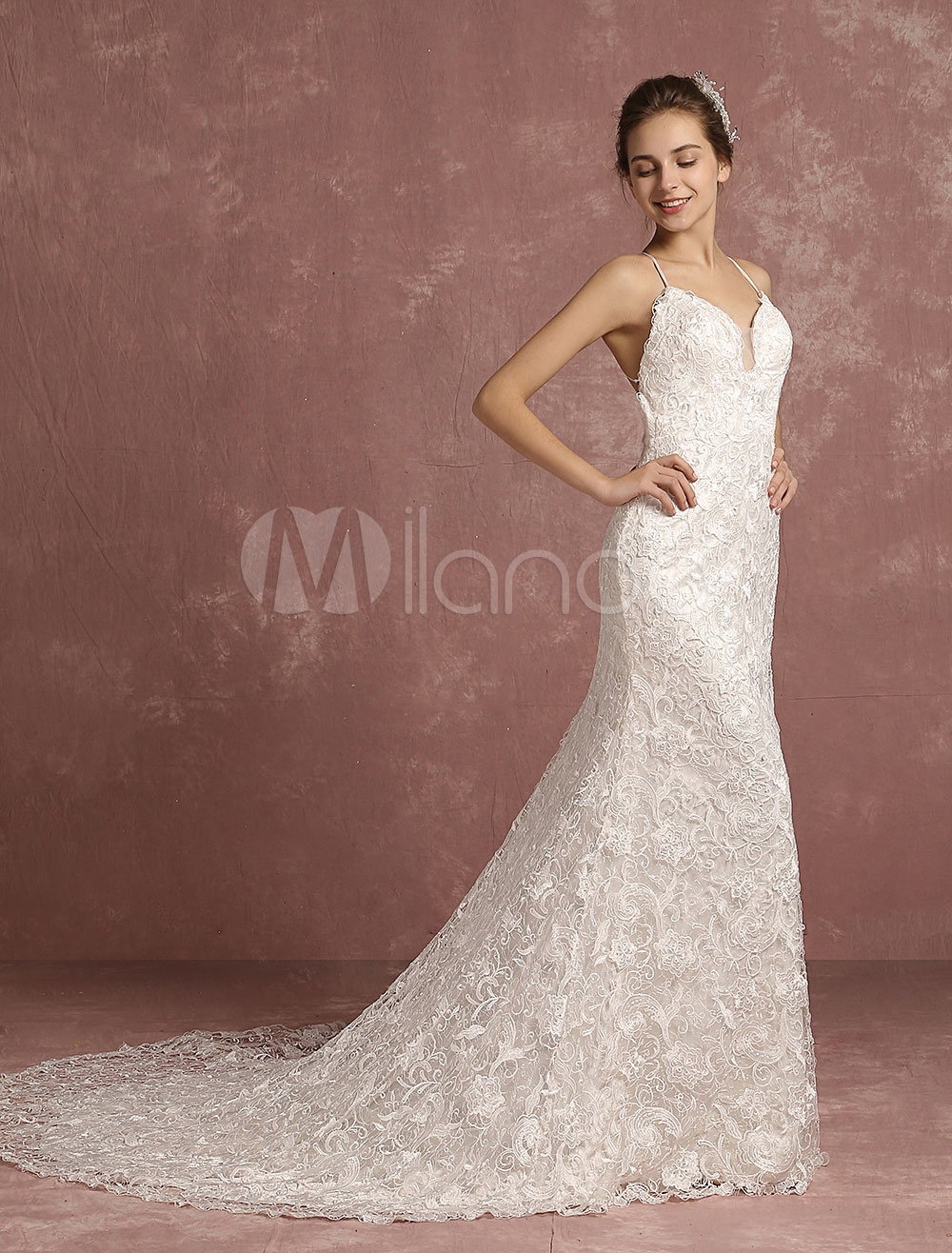 Buy Summer Wedding Dresses 2018 Lace Boho Cathedral Train Bridal Gown Mermaid Spaghetti Straps V Neck Backless Bridal Dress for $397.79 in Milanoo store