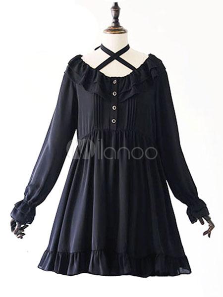 Gothic Lolita Dress OP Long Sleeve Black Lolita Dress Criss Cross Chiffon High Waist Lolita One Piece Dress