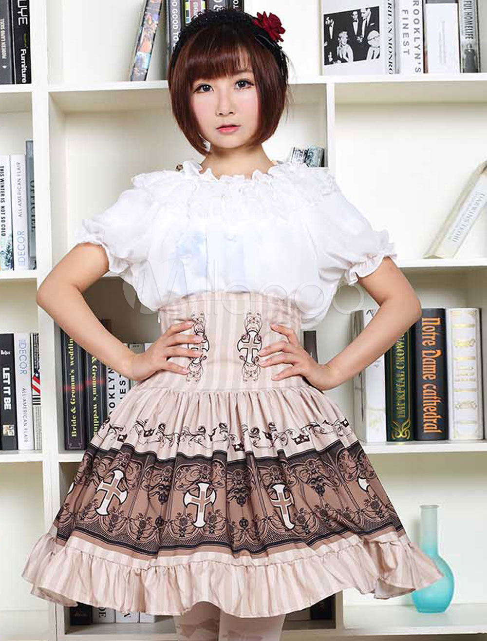 Buy Sweet Lolita Dress SK Chocolate Lolita Dress High Waist Printed Pleated Lolita Skirt for $45.99 in Milanoo store