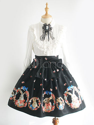Buy Sweet Lolita Dress SK Black Lolita Dress Rabbit Printed Pleated Lolita Skirt With Bow for $67.99 in Milanoo store
