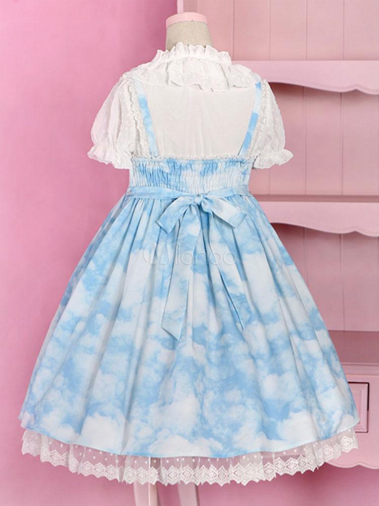 Sweet Lolita Dress Jsk Cloud Printed Blue Lolita Jumper