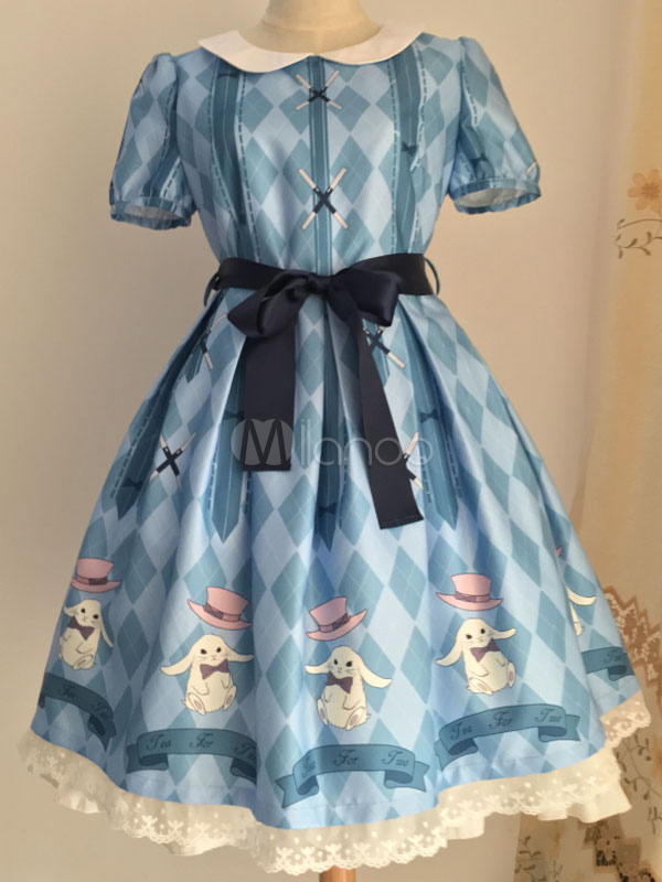 Buy Sweet Lolita Dress OP Rabbit Printed Blue Lolita Dress Short Sleeve Peter Pan Collar Lolita One Piece Dress With Ribbon Sash for $113.99 in Milanoo store