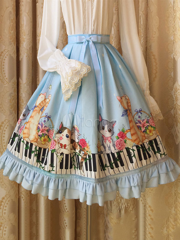 Buy Sweet Lolita Dress SK Blue Lolita Dress Piano Keyboard Cat Print Chiffon Lolita Skirt for $79.11 in Milanoo store