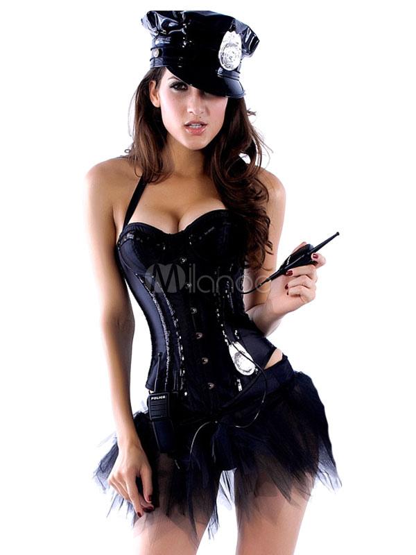 16f0b0554 Policial Sexy Halloween traje preto Halter Top sem mangas com fantasia de  policial de saia Halloween ...