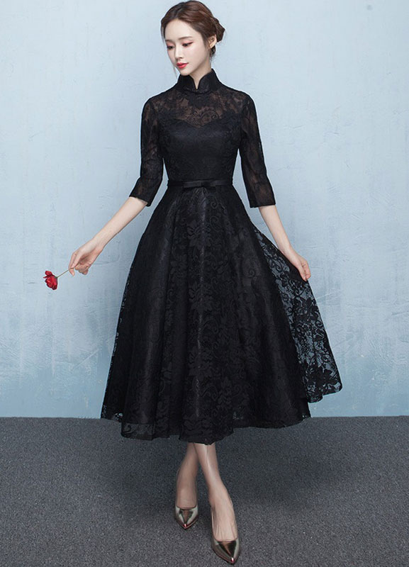 Black Mother S Dress Lace Prom Dress Mandarin Collar Half