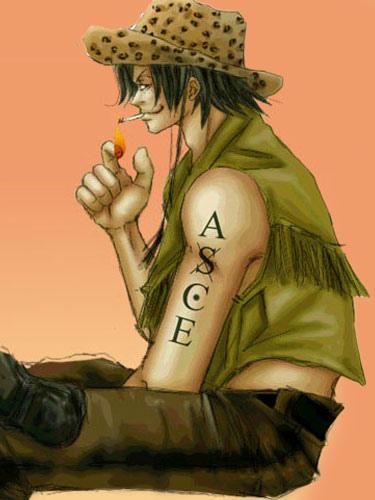 One Piece Ace Cosplay ASCE Anime Temporary Tattoo Halloween