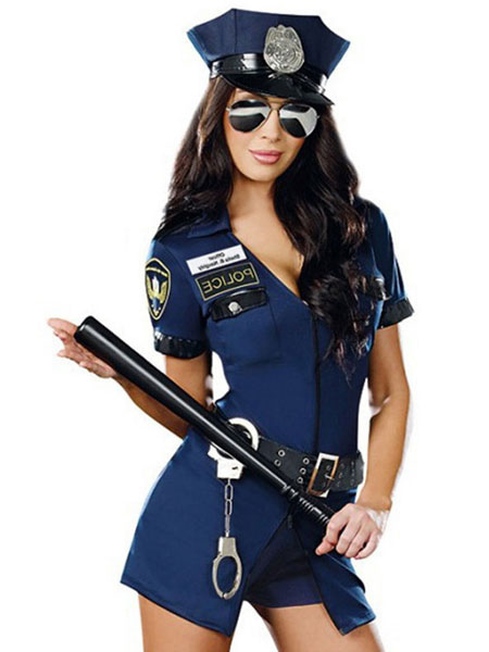 Buy Sexy Cop Costume Blue Halloween Women's Outfit Policewoman Costume Halloween for $24.29 in Milanoo store