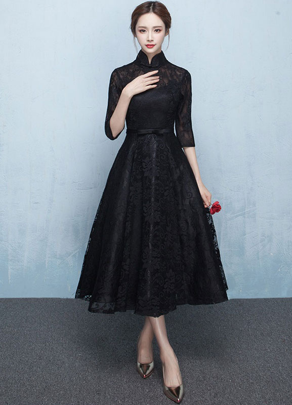 Dress Lace Prom Mandarin Collar