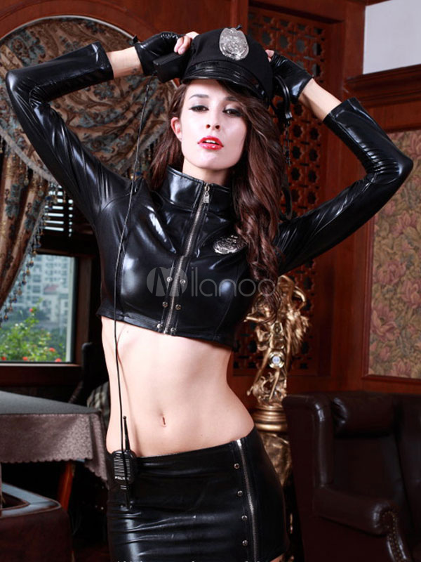 Halloween Sexy Cop Costume Outfits Black Pu Leather Police