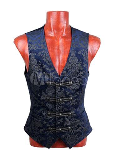 Buy Steampunk Suit Vest Halloween Vintage Costume Men's Waistcoat Retro Blue Jacquard Vest Jacket Halloween for $143.51 in Milanoo store