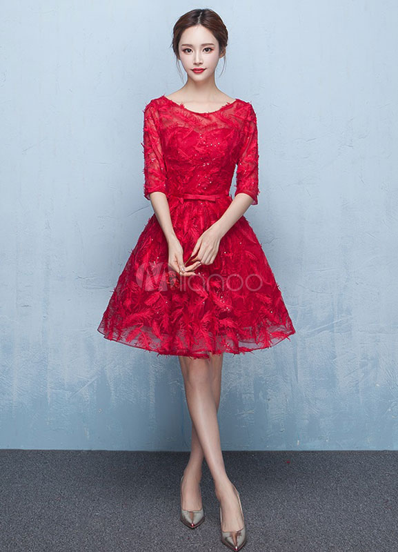 Buy Red Prom Dresses 2018 Short Cocktail Dress Lace Burgundy Feather Half Sleeve Sash Keyhole Back A Line Knee Length Graduation Dress for $101.19 in Milanoo store