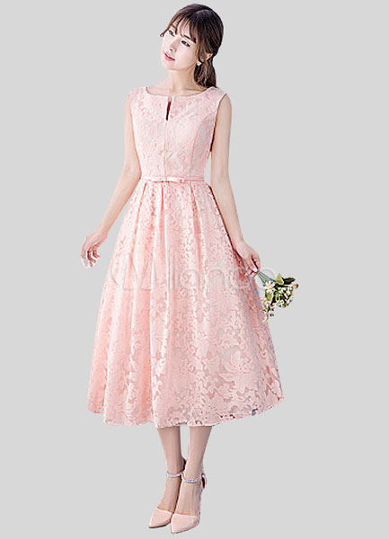 7f13f53397f ... Blush Pink Lace Homecoming Dress Light Pink Prom Dress Notched Neckline  Sash A Line Tea Length ...