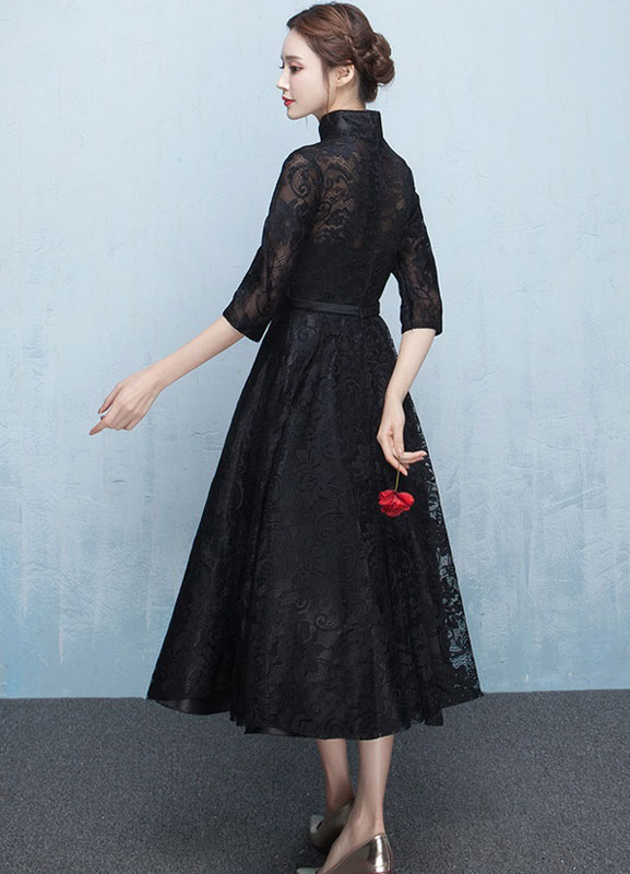 Kleid der schwarzen Mutter-Spitze-Abschlussball-Kleid-Mandarine ...
