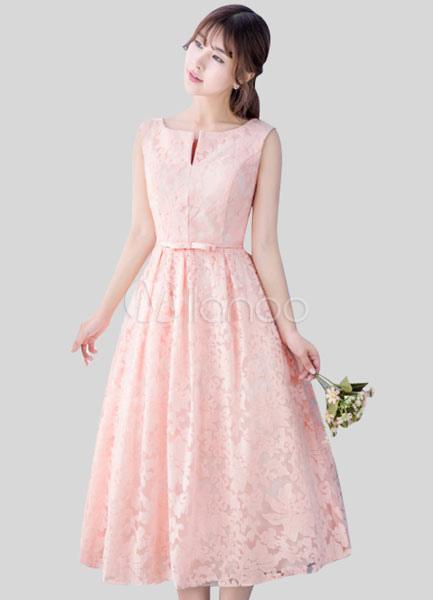 Blush Pink Lace Homecoming Dress Light Pink Prom Dress Notched Neckline Sash A Line Tea Length Blush Bridesmaid Dress