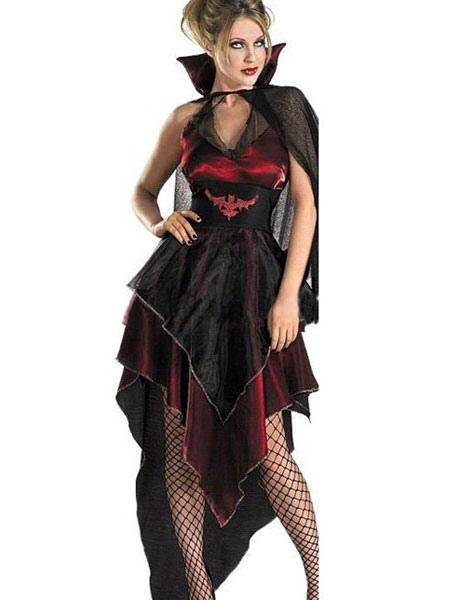Buy Halloween Costume Demon Cosplay Women's Mardi Gras Irregular Tiered Short Black Dress And Cloak Halloween for $30.99 in Milanoo store