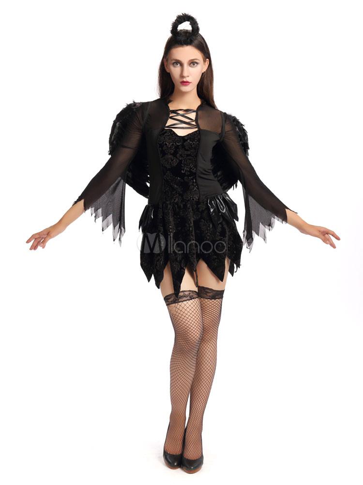 Buy Halloween Costume Demon Black Angel Cosplay Women's Mardi Gras Long Sleeve Short Dress Halloween for $27.99 in Milanoo store