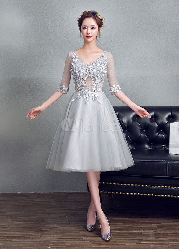 Buy Tulle Prom Dress Light Grey Beading Flower Homecoming Dress Applique V Neck Half Sleeve A Line Tea Length Cocktail Dress for $105.59 in Milanoo store