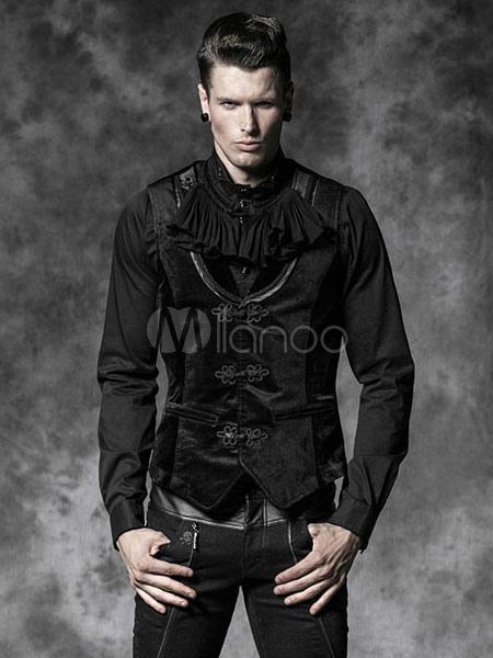 Buy Halloween Steampunk Vest Jacket Vintage Costume Men's Retro Frog Button Black Waistcoat Halloween for $143.99 in Milanoo store