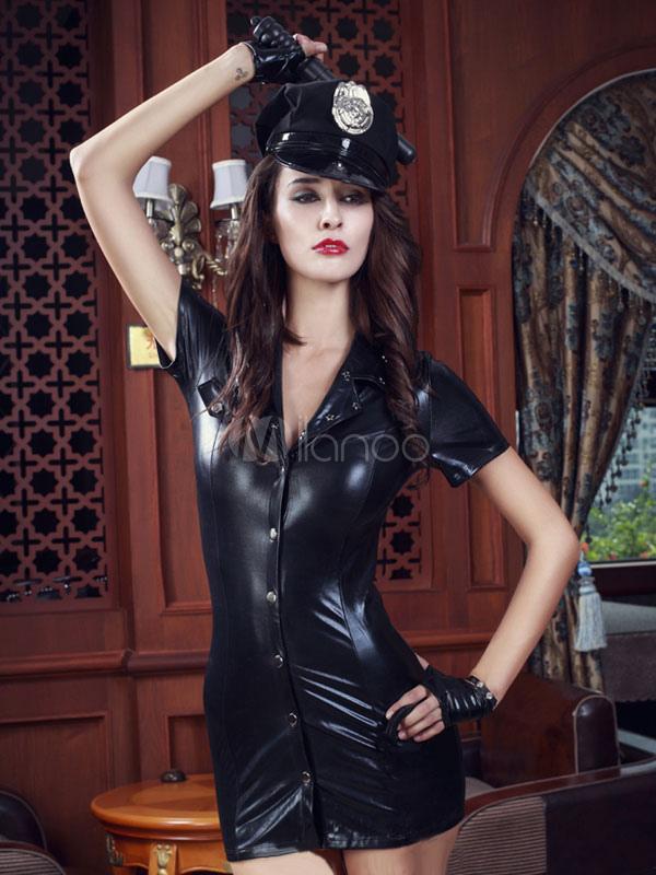 b8b4e7788 Fantasia policial sexy preto PU bainha policial de Halloween vestido  feminino fantasia Halloween-No.