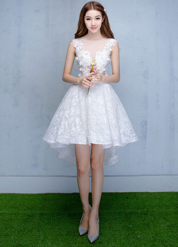 White Homecoming Dress Lace High Low Prom Dress Illusion Neckline Flower Short Bridesmaid Dress