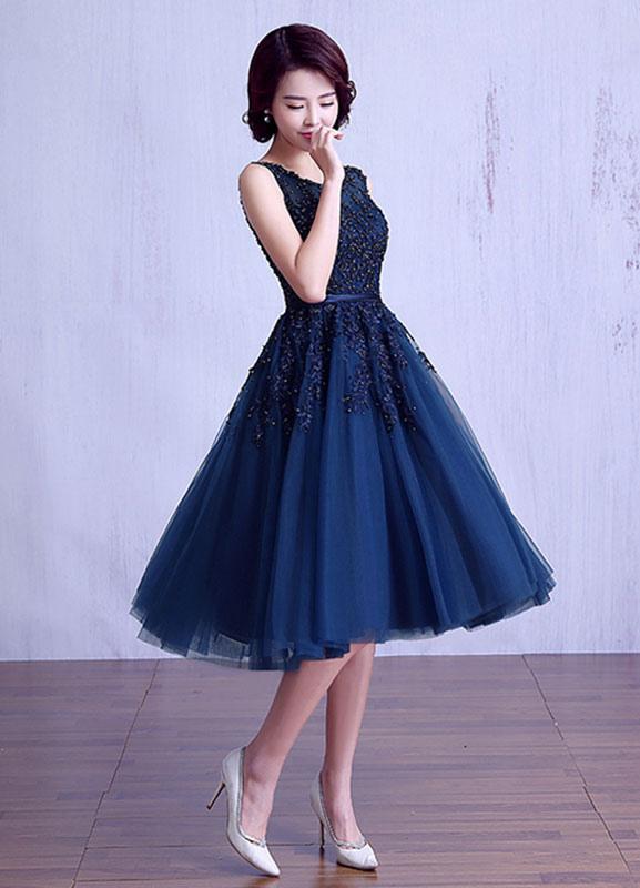 Vestido Corto Azul De Fiesta De Graduación 2019 Encaje Apliques Vestido De Graduación Tul Azul Marino Oscuro Con Faja Longitud Del Té Vestido De