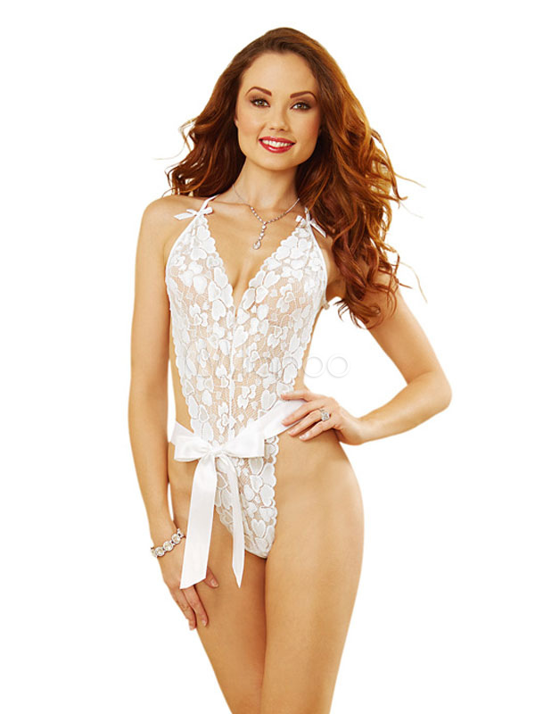 bdfce699a555f Sexy Bridal Lingerie Costume Outfit Halloween Women's White Lace Teddy With  Bow Halloween-No.
