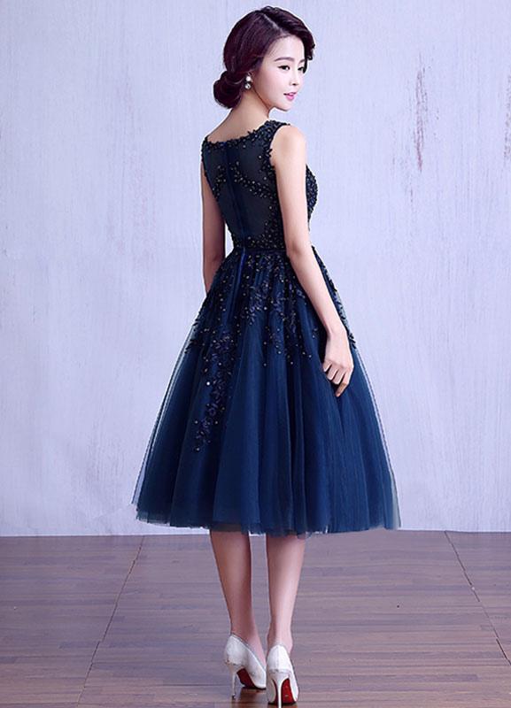 ec14d5b2631 ... Blue Prom Dress 2019 Short Lace Applique Graduation Dress Tulle Dark  Navy Sash Tea Length Homecoming ...