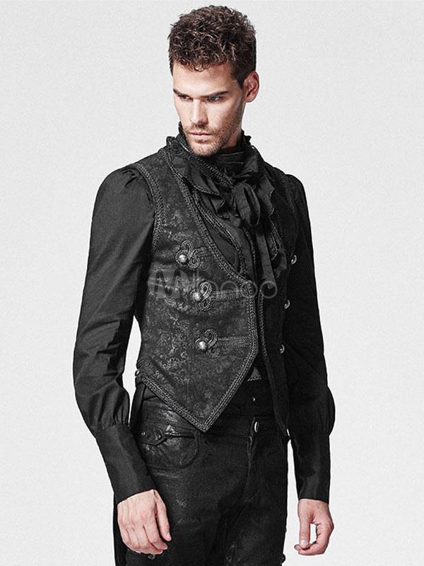 Buy Steampunk Vest Jacket Halloween Vintage Costume Men's Retro Black Waistcoat Halloween for $177.29 in Milanoo store