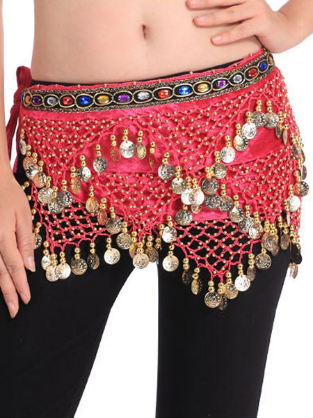 Belly Dance Hip Scarf Red Tiered Tassels Waist Chains Women's Belly Dance Costume Accessories